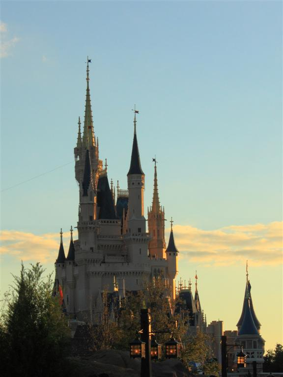 Prince Charming's castle at sunset