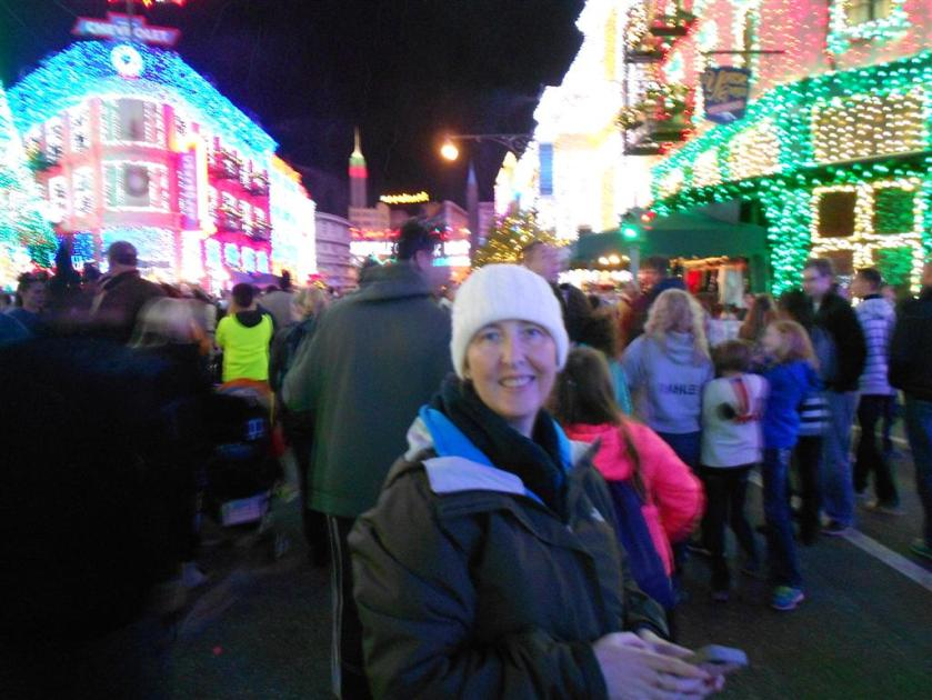 Angie enjoys the Osborne lights.
